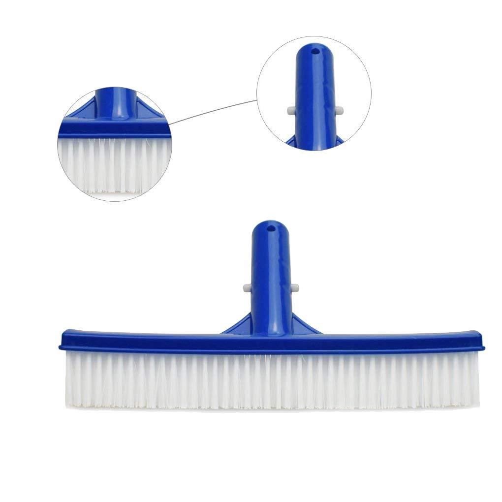10 Inch Swimming Pool Brush Cleaning Dirt Bristles Wall Floor Pond Moss Plastic Portable Cleaner Equipment White+blue 25x4.7cm