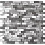 3D Raised Brick Pattern Grey Blends Aluminum Mosaic Tile