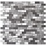 3D Raised Brick Pattern Grey Blends Aluminum Mosaic Tile - Kitchen Backsplash / Bath Backsplash / Wall Decor / Fireplace Surround