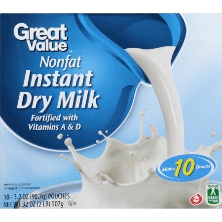 PACK OF 4 - Great Value Nonfat Instant Dry Milk, 3.2 oz, 10 count by Great Value (Image #3)