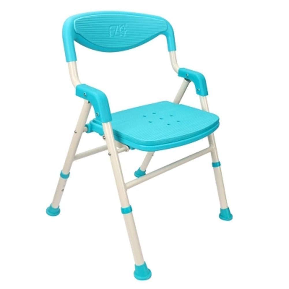 浴室滑り止めチェアシャワースツールの高さ調節可能な背もたれ手すりの厚さ安全耐久性のある滑り止め防水トイレ世帯高齢者身体障害者妊娠中の女性子供2色オプション (色 : 青) B07S3KJ4T7 青
