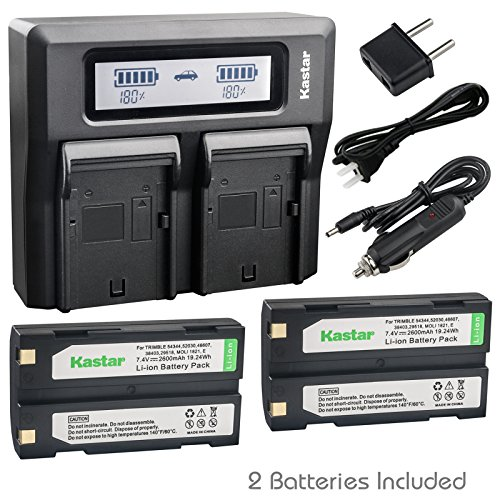 Kastar Fast Dual LCD Charger + 2x Battery Replacement for Pentax Ei-D-Li1 EI-D-BC1 EI-2000, Trimble 29518 46607 52030 54344 38403 5700 5800 R6 R7 R8 GNSS TR-R8 GPS, HP PhotoSmart C8873A 912 C912C912XI ()