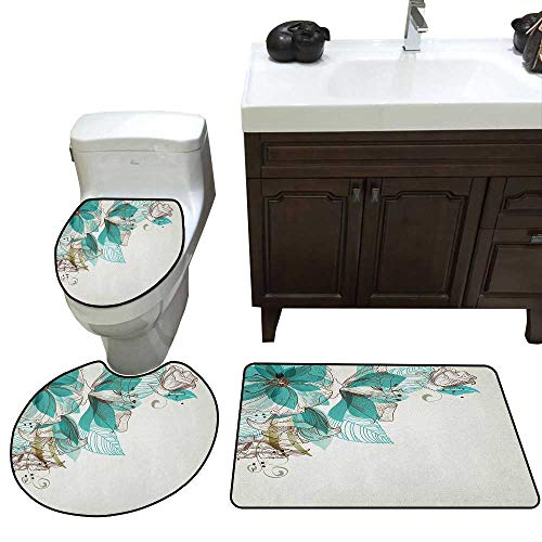Moeeze-Home Turquoise 3 Piece Toilet mat Set Flowers Buds Leaf at The top Left Corner Festive Season Celebrating Theme Lid Toilet Cover Bath Mat Teal Pale Green