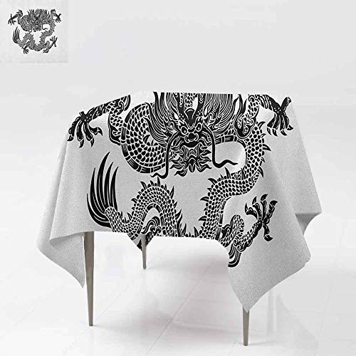 Elegance Engineered Tablecloth Legendary Ancient Fantasy Figure Art Symbolic Character Monochrome Design Picnic W70 xL70 Black White