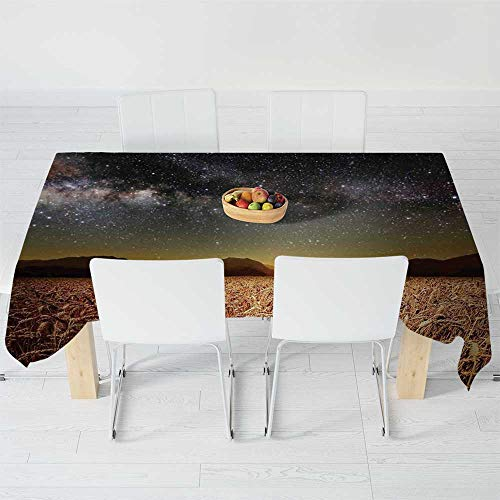 - Polyester Tablecloth,Space,for Wedding Banquet Restaurant,104.3 X 52 Inch,Wheat Field Meadow Under Stars Clusters Twilight