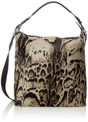 Bree Sandnes 3, Black/taupe Fur, Hobo S18 - Borse a secchiello Donna, Nero (Black), 14x32x31 cm (B x H T)