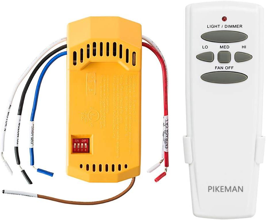 Universal Ceiling Fan Remote Control and Receiver Complete Kit Replace Hampton Bay Harbor Breeze Hunter Westinghouse LED UC7078T Fan-HD CHQ7078T L3H2010FANHD Fan-HD5 FAN-18R -Pikeman