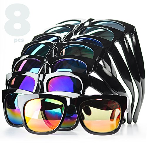 Party Sunglasses- Party Favor Sunglasses for Kids and Adults. 8-Pack Party Glasses with Colored Mirrored Lenses. Quality Certified Plastic Frame and Lenses.