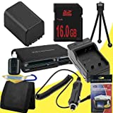 NP-FV100 Lithium Ion Replacement Battery w/Charger + 16GB SDHC Memory Card + Memory Card Reader/Wallet + Deluxe Starter Kit for Sony NEXVG10, NEXVG20 Interchangeable Lens HD Handycam Camcorder DavisMAX Accessory Bundle