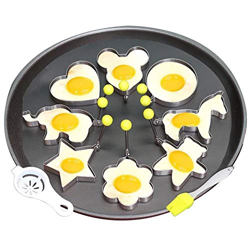 Fried Egg Mold Pancake Ring Set of 10 - BEMINH Stainless Steel Non-Stick Egg Shaper Ring with Silicone Pastry Brush and Egg Yolk Separator, Kitchen Cooking Tools for Kids and Lovers ()