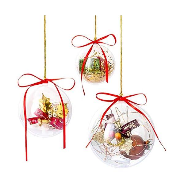 Gwhole Set di 15 Palline di Natale con 15 Corde d'oro e 15 Corde Rosse, 6cm 8cm 10cm Sfera Plastica Trasparenti Palla Palle da Natalizie Albero Apribili Decorative 1 spesavip