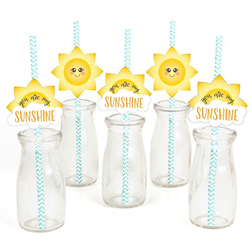 You are My Sunshine Paper Straw Decor - Baby Shower or Birthday Party Striped Decorative Straws - Set of 24 ()
