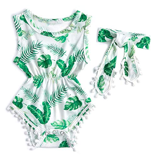 3M Newborn Baby Green Leaves Graphics Tassel Romper Outfits Apparel Costume Set Shower Gift for Baby Girl