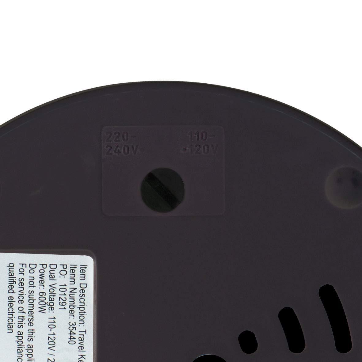 Black 0.5 Litre Quest 35690 Dual Voltage Travel Kettle 600 W
