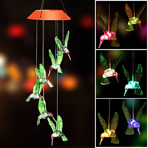 SIX FOXES Wind Chime, Solar Wind Chime Hummingbird, Color-Changing Solar LED Mobile Wind Chime Waterproof Outdoor Decor Light for Valentines Gift Home Party Balcony Porch Patio Garden