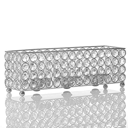 VINCIGANT Silver Crystal Candle Holder,Decorative Candlesticks/Candle Sleeve for