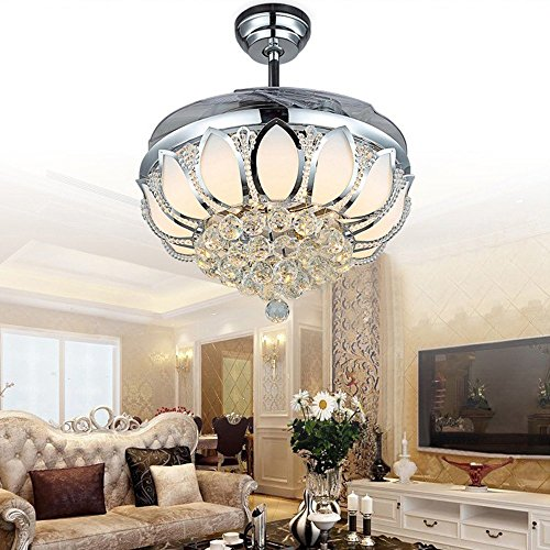 Luxury Modern Crystal Chandelier Ceiling Fan Lamp Folding Ceiling Fans With Lights Chrome Ceiling Fan With Light Dining Room Decorative with Remote Control (Support Dimming) by LSSD (Image #4)
