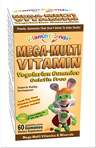 Vitamin Friends - Mega Multi Vitamin Diet Supplement, Vegetarian Gummies That Don't Stick to Kids Teeth (Cherry/Orange, 60 Count) (Vegetarian Mega Vitamin)