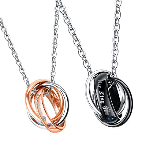 Her King His Queen Stainless Steel Couple Rings Pendant Chain Necklace with Free Chain (Pair - Store Fashion Hours Fair