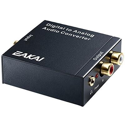 EAKAI Digital Optical Coax to Analog RCA Audio Converter 3.5 mm Jack, 24-bit DAC DC 5V Power Supply Adapter [USA UL Licensed]