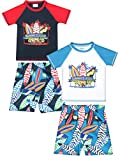 Sweet & Soft Baby Boys 4-Piece Rash Guard and Trunk Swimsuit Set (Infant/Toddler) (Summer Classic, Toddler (4T))'