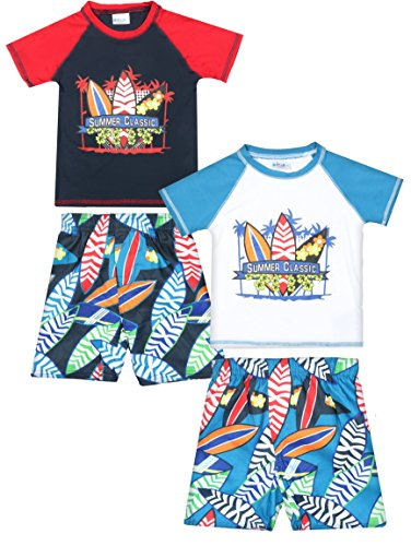 Long Sleeve Navy Size 24 Months Sweet /& Soft Baby Boys 2-Piece Rash Guard and Trunk Swimsuit Set