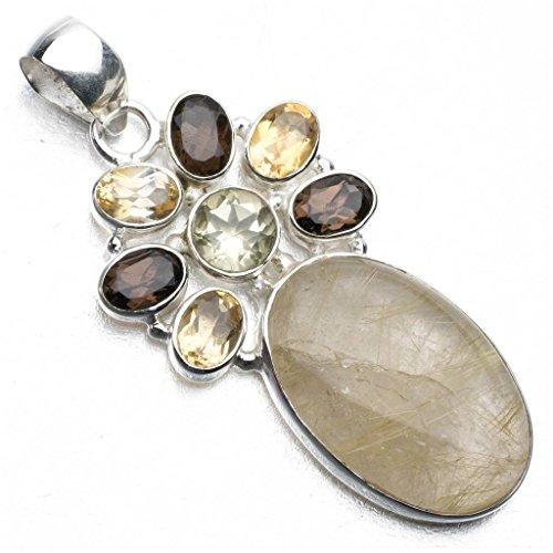 - Rutilated Quartz,Citrine,Smoky Quartz and Green Amethyst 925 Sterling Silver Pendant 2 1/4