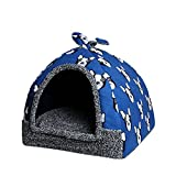 Hollypet 12 × 12 × 14 inches Self-warming Comfortable Triangle Cat Bed Tent House, Blue Dog