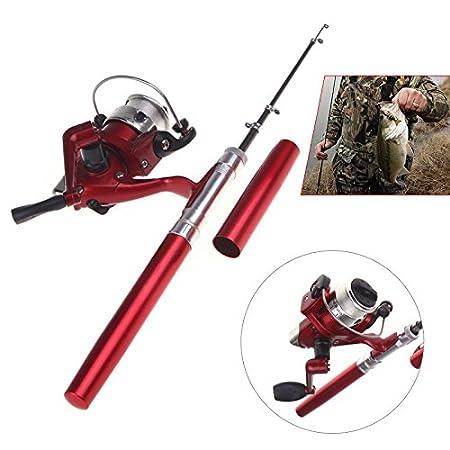 Lixada Mini Ca/ña de Pesca Similar Bol/ígrafo de Aluminio Tama/ño de Bolsillo Carrete de Pesca Incluido