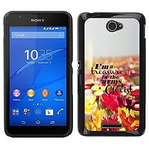 Caucho caso de Shell duro de la cubierta de accesorios de protección BY RAYDREAMMM - Sony Xperia E4 - Jesucristo Flores Dios cristiano