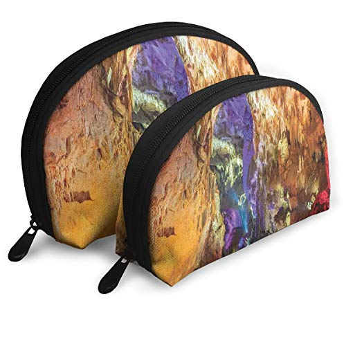 Shell Shape Makeup Bag Set Portable Purse Travel Cosmetic Pouch,Inside View Of Prometheus Cave In States Dark Karst Underground Myst Nature,Women Toiletry Clutch]()