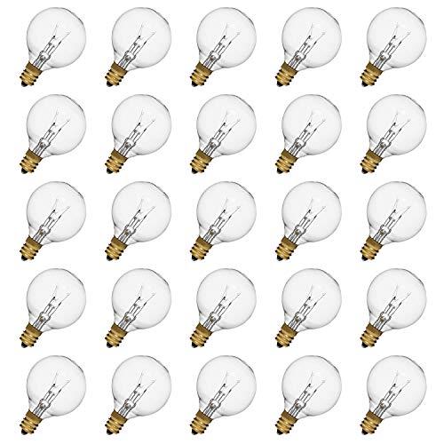 (Incandescent Light Bulbs for String Light, G40 Bulb, G40 Globe Light Bulbs, E12 Light Bulb, Clear Glass Globe Bulbs with Candelabra Screw Base, Pack of 25)