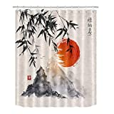 LB Ancient Japanese Chinese Ink Painting Bamboo Mountain Sunset Shower Curtain for Bathroom, Oriental Bath Curtain, Anti Mold Water Resistant Healthy Fabric Decor Curtain, 70 x 70