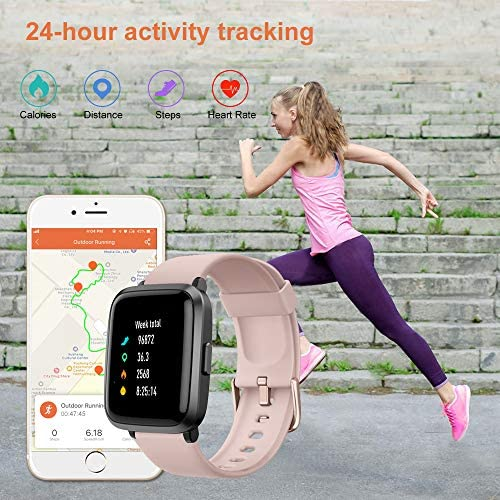 YAMAY Smart Watch 2020 Ver. Watches for Men Women Fitness Tracker Blood Pressure Monitor Blood Oxygen Meter Heart Rate Monitor IP68 Waterproof, Smartwatch Compatible with iPhone Samsung Android Phones 3