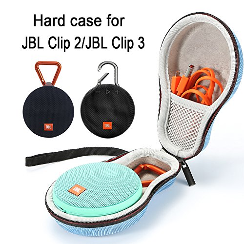 Hard Case Travel Carrying Storage Bag for JBL Clip 2/JBL Clip 3 Wireless Bluetooth Portable Speaker. Fits USB Cable - Light Blue