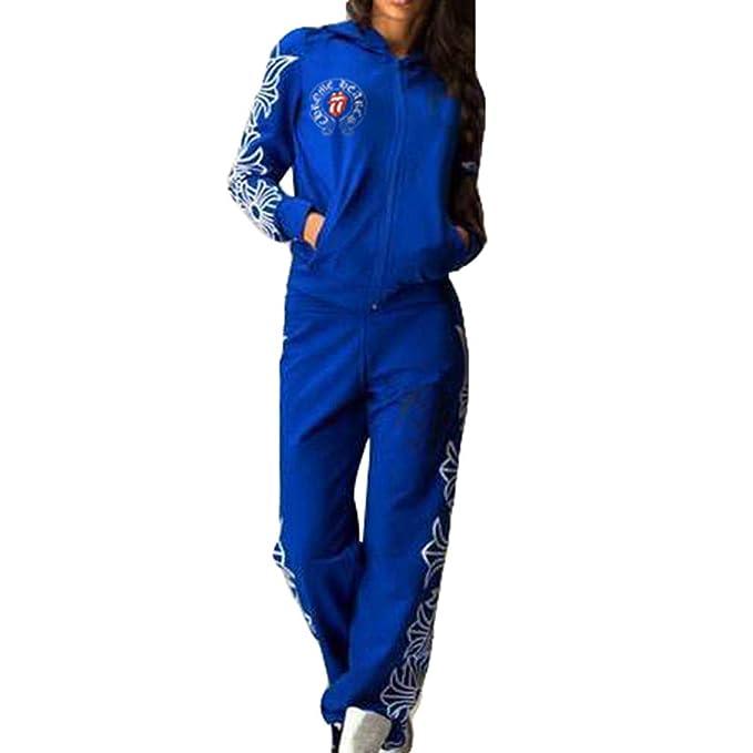 Hibote Donna Tuta Sportiva Abbigliamento Sportivo Morbida Comoda Pullover a Maniche  Lunghe Pantaloni 2 Pezzi Vestiti Set Felpa Sportiva Pantaloni Fitness ... b79bba7a933