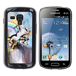 YiPhone /// Prima de resorte delgada de la cubierta del caso de Shell Armor - Unicorn Horse Rainbow Magical Gold - Samsung Galaxy S Duos S7562