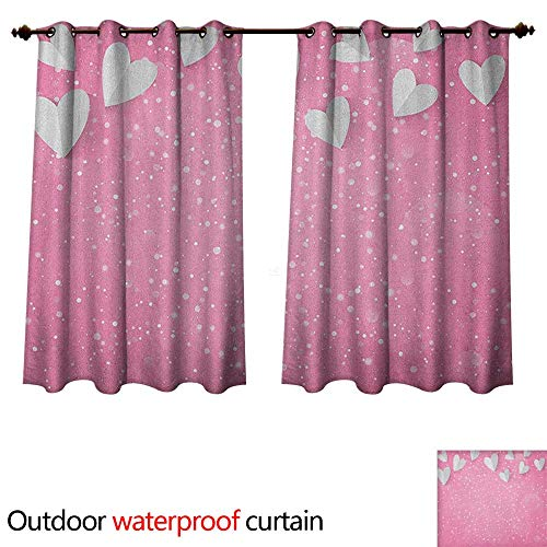 Wing Air Profile (Pink and White Outdoor Curtains for Patio Sheer 3D Style Hearts As Butterfly Wings Tender Magical Spring Love in The Air W55 x L45(140cm x 115cm))