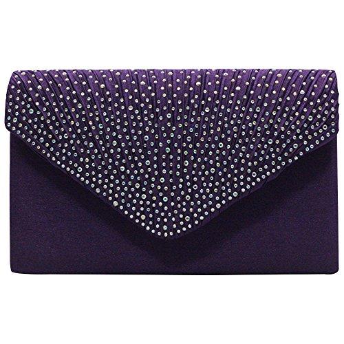 Wiwsi Fashion Shiny Lady Satin Envelope Diamante New Clutch Bag Party Handbag
