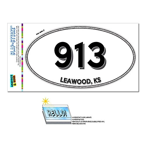 Graphics and More Area Code Euro Oval Window Laminated Sticker 913 Kansas KS Agenda - Winchester - - Leawood Ks