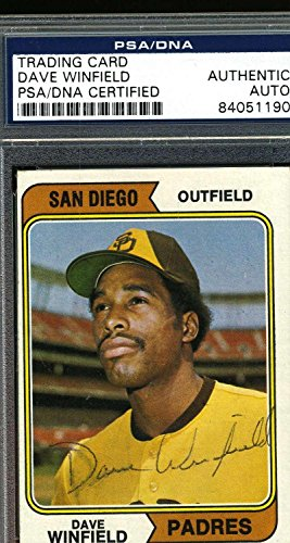 DAVE WINFIELD VINTAGE ROOKIE Autograph 1974 TOPPS Authentic Signed - PSA/DNA Certified - Baseball Slabbed Autographed Cards