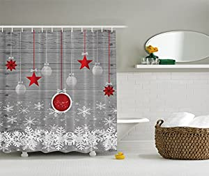 Amazing Red Holiday Star Ornaments And Snowflake U0026 Gray Christmas Fabric Shower  Curtain By Ambesonne