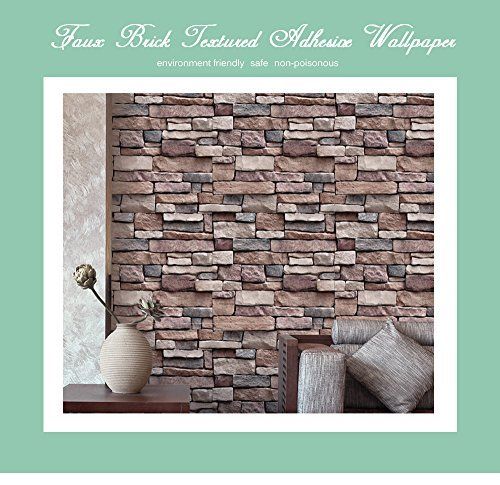 3D Wallpaper Bedroom Living Mural Roll Modern Faux Brick Stone Wall Background - 6