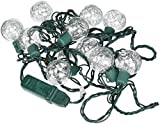 Kurt Adler UL 10-Light G40 Tinsel Balls LED Light Set, Silver