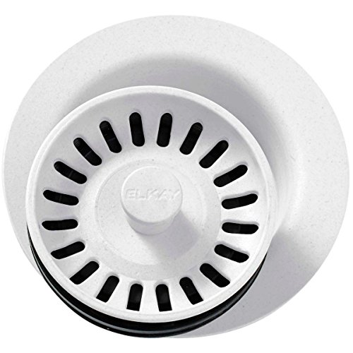 White Disposer Flange - Elkay LKQD35WH White Polymer Disposer Flange with Removable Basket Strainer and Rubber Stopper