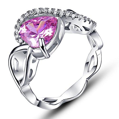 (PAKULA Women's Fashion 8mmx8mm Heart Shaped Celtic Knot Pink Topaz Ring Band)