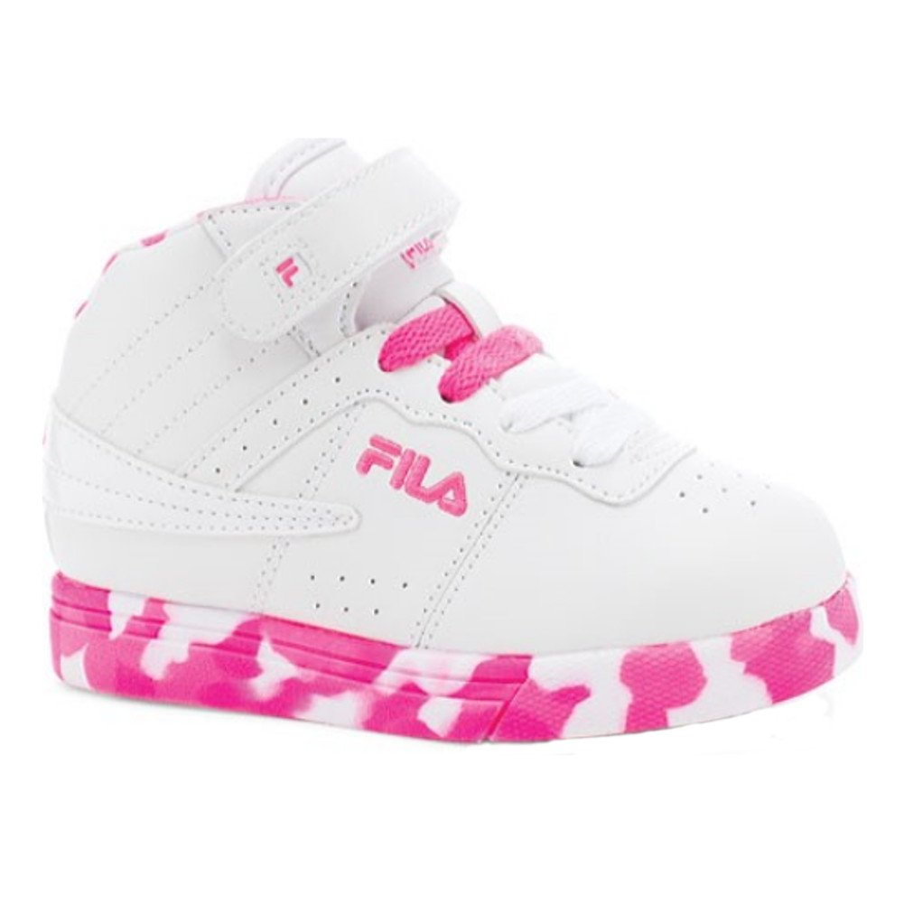 Fila Kid's Vulc 13 Mashup Lace up Sneakers, White, Filabuck, 8 Toddler M