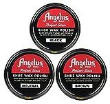 wax shoe polish - Angelus Shoe Wax Polish Black, Brown, Neutral Variety 3 Pack