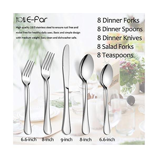 Silverware Set, 40-Piece Flatware Set, E-far Stainless Steel Eating Utensils Service for 8, Dinner Knives/Forks/Spoons… 7