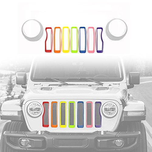 2018 Jeep Wrangler JL Mesh Grille Grill Insert+Headlight Turn Light Cover Trim(Rainbow And Silver)